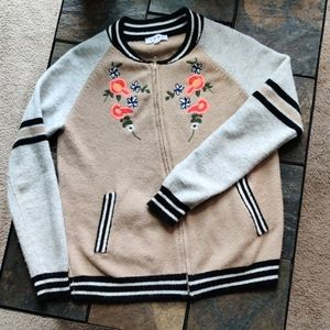 THML Varsity Style Warm Floral Embroidered Sweater